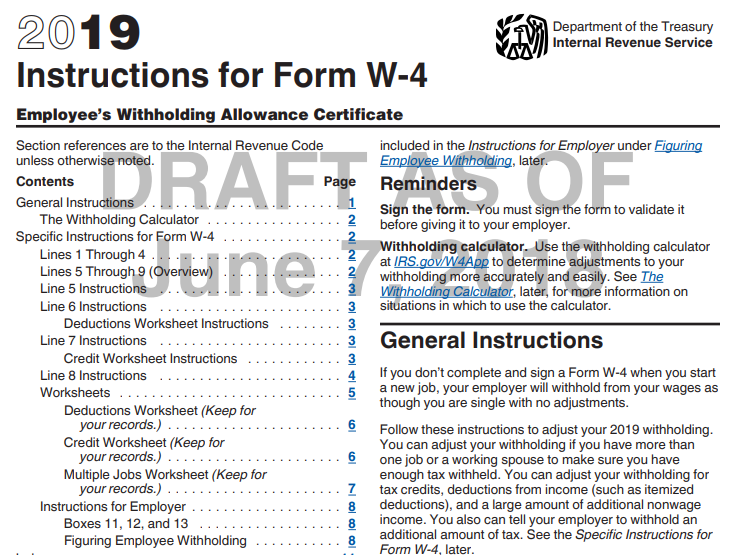 payroll 2019 - irs draft instructions for form w-4 | smartpayroll